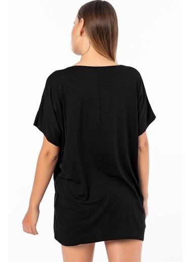 Emjey Smile Yazılı T-Shirt Siyah